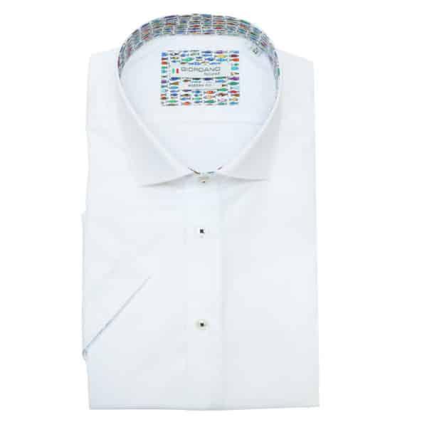 Giordano fish pattern short sleeve white shirt 1