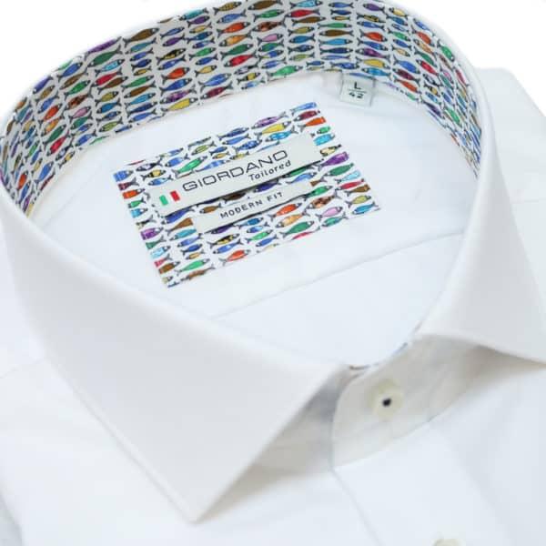 Giordano fish pattern short sleeve white shirt