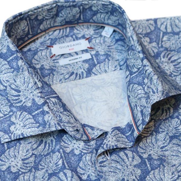 Giordano linen palm tree summer shirt collar