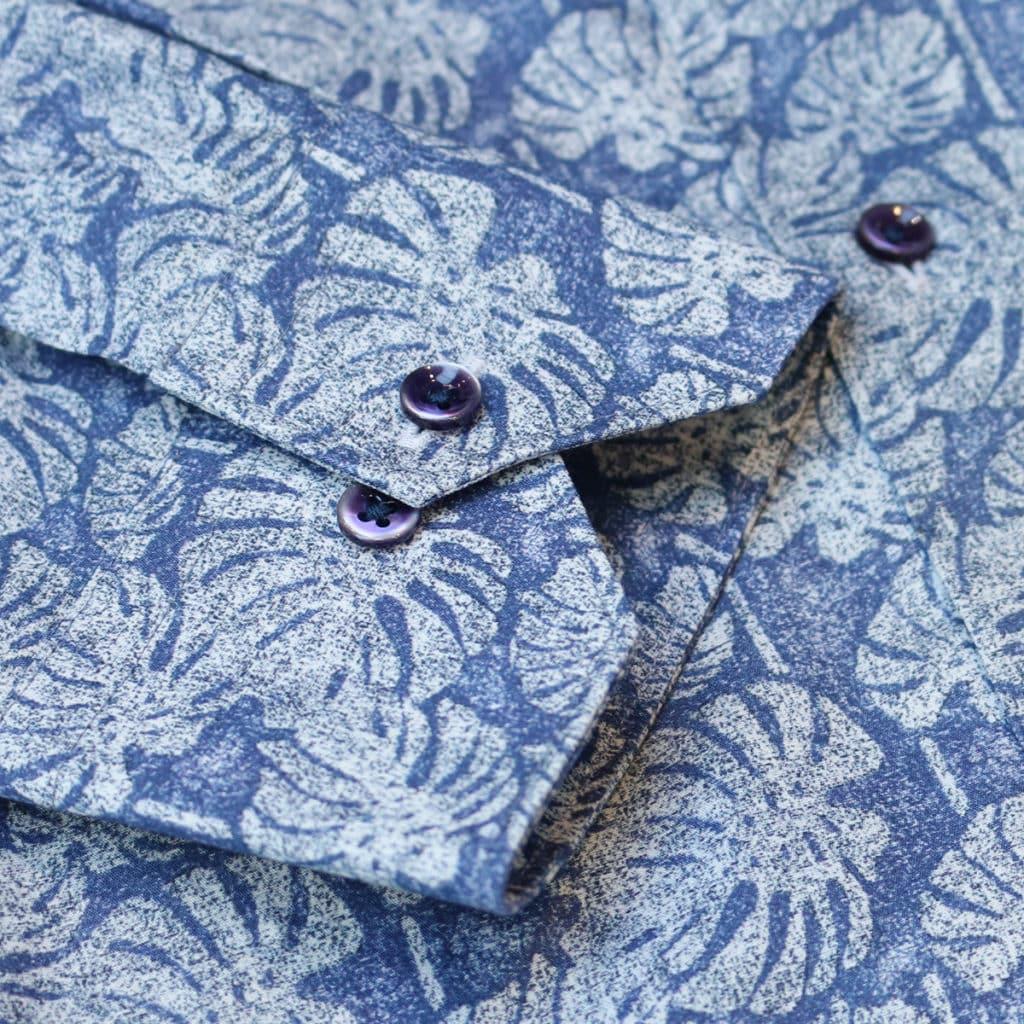 Giordano linen palm tree summer shirt cuff detail