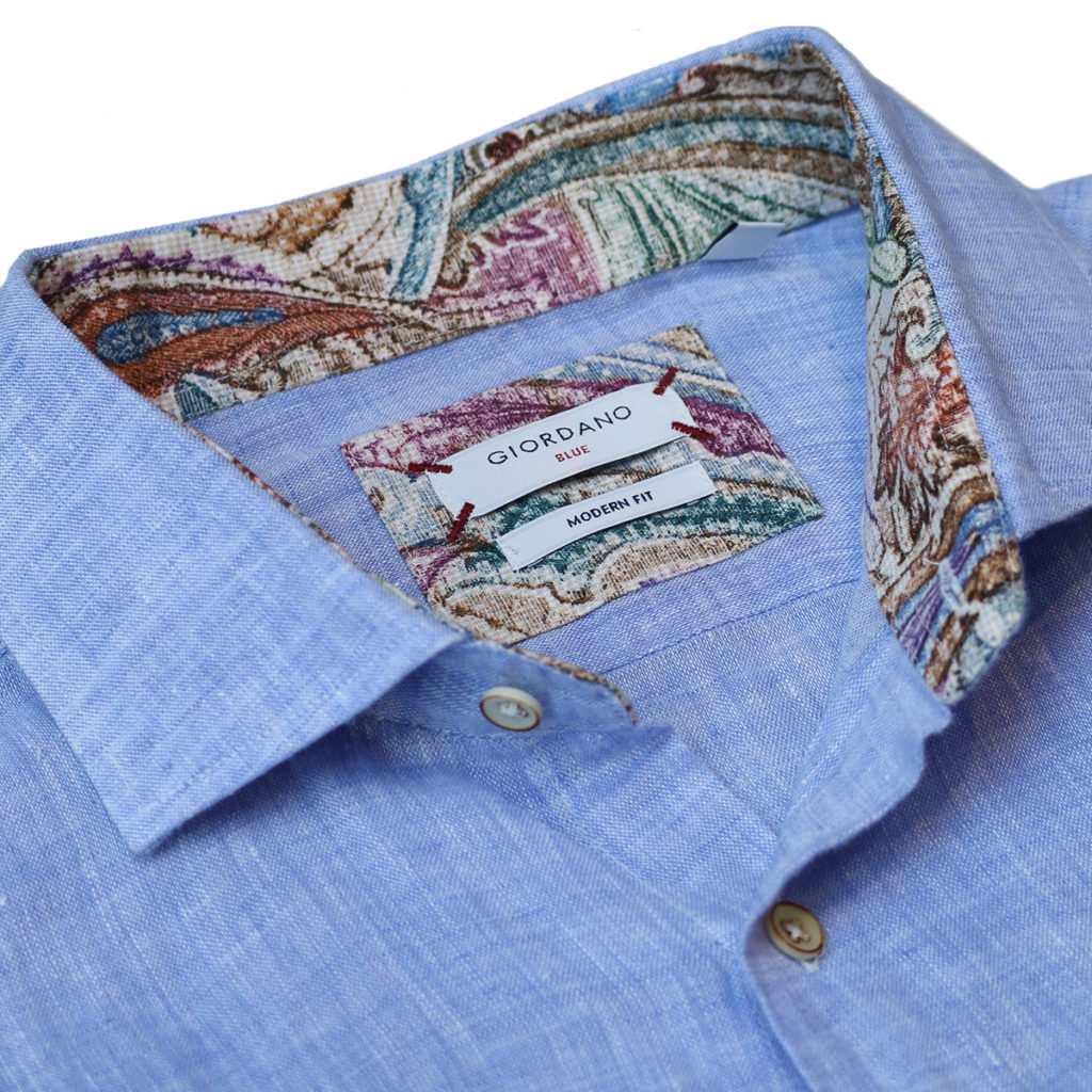 Giordano linen shirt blue collar