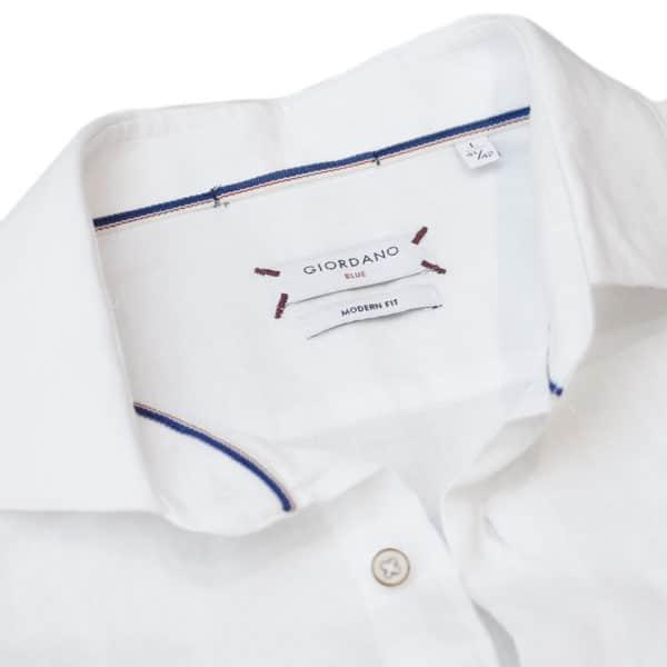 Giordano linen shirt white collar