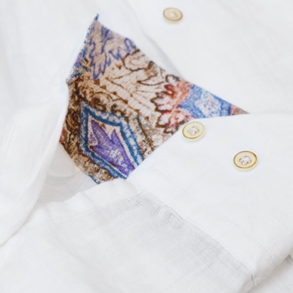 Giordano linen shirt white pattern collar cuff detail