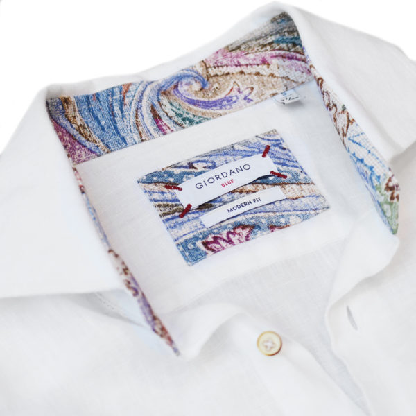 Giordano linen shirt white pattern collar2