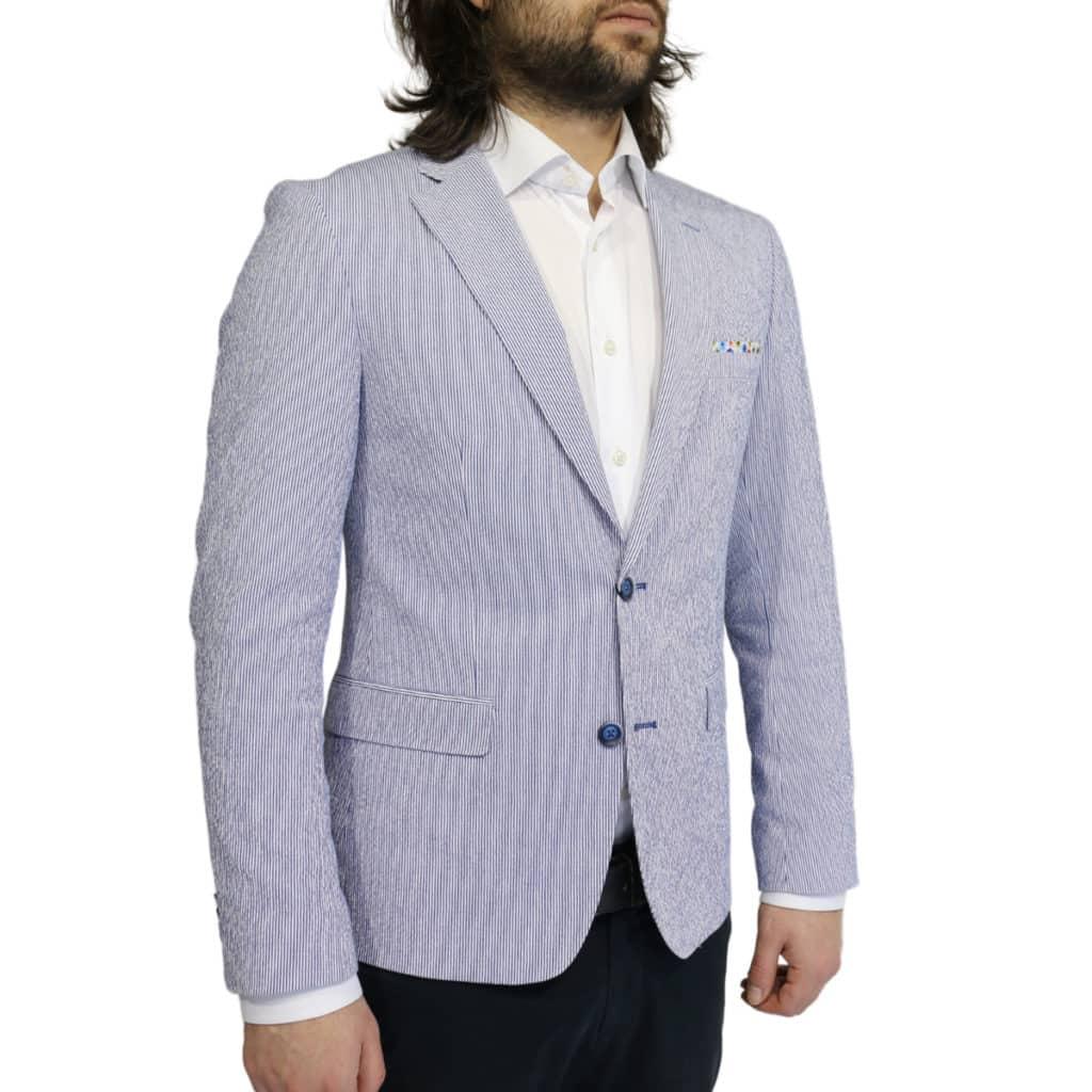 Giordano seersucker stripe navy jacket side