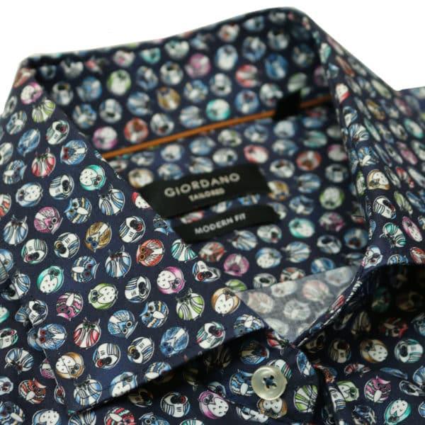 Giordano shirt navy cirlce bird collar