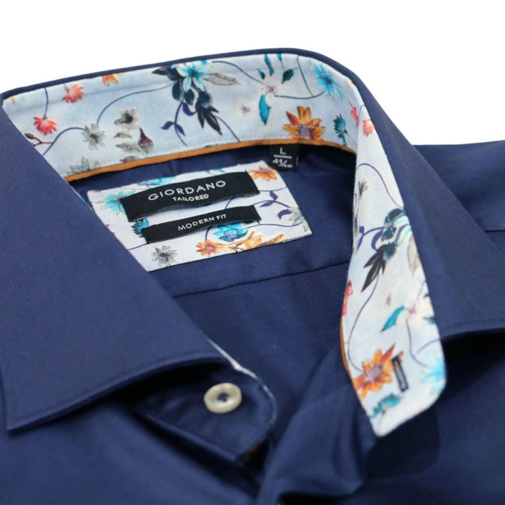 Giordano shirt navy collar detail