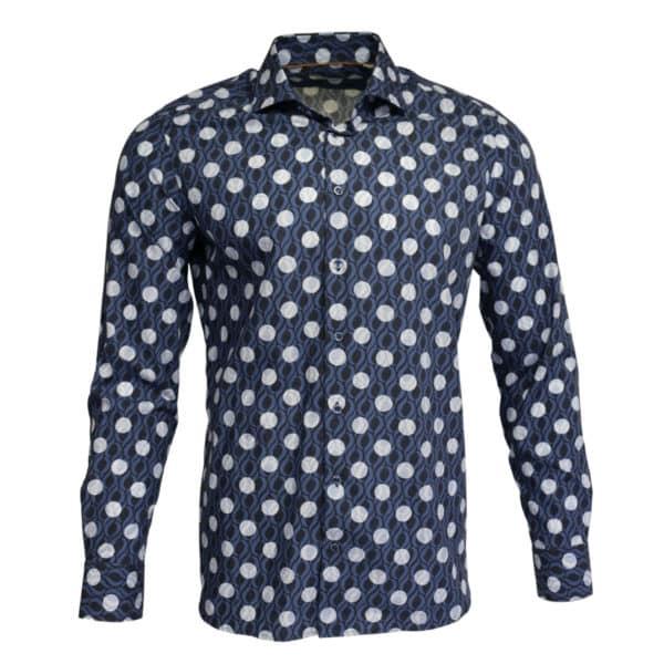 Giordano shirt navy white circle front