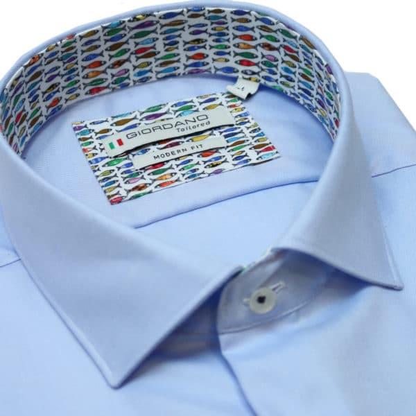 Giordano short sleeve blue shirt collar