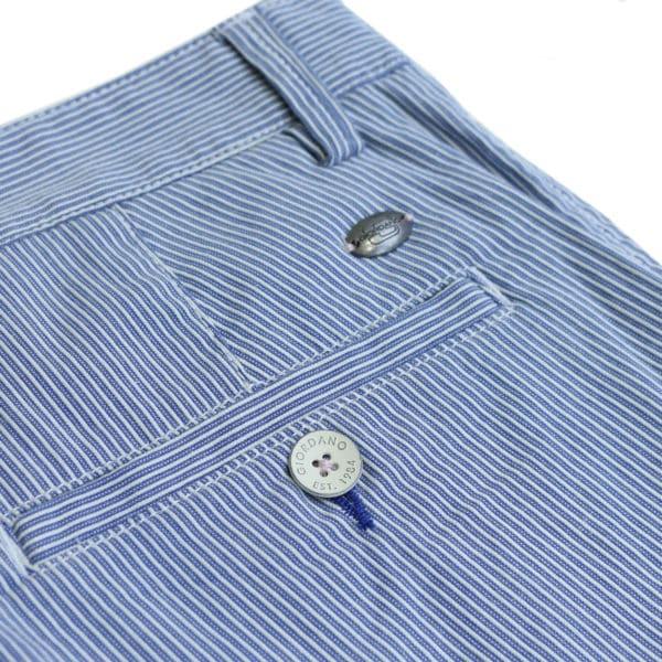 Giordano striped blue shorts back pocket detail