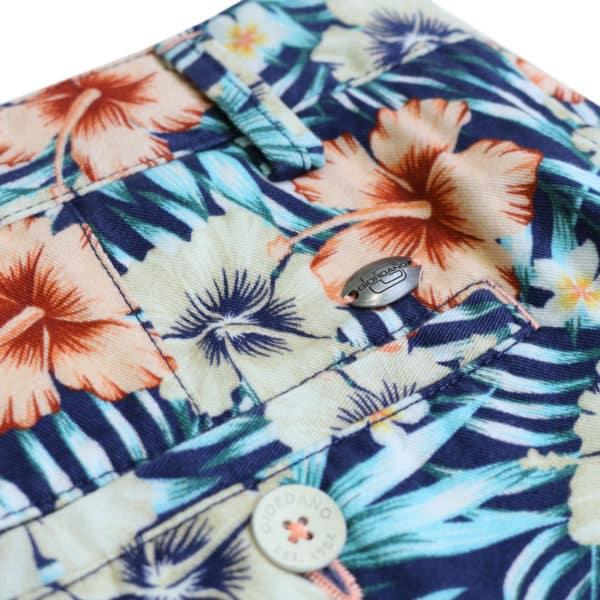 Giordano tropical shorts navy back pocket detail