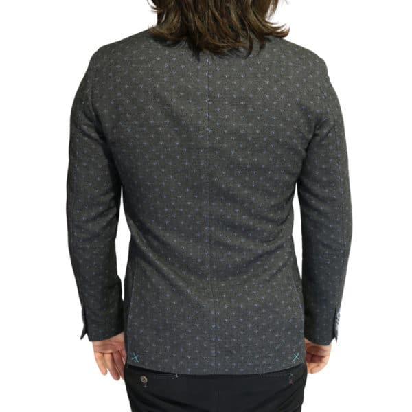 Grey blazer blue polka dot pattern back