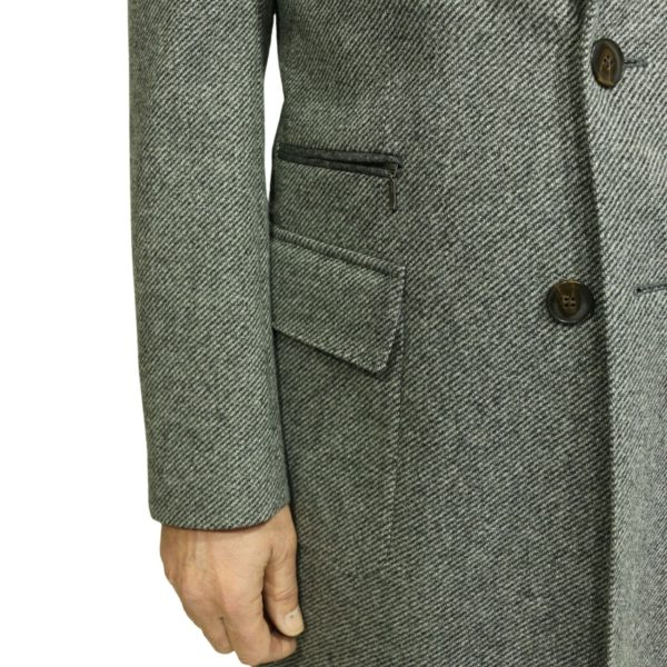 Grey diagonal textured coat detail