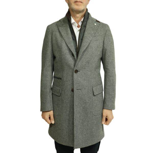 Grey diagonal textured coat front
