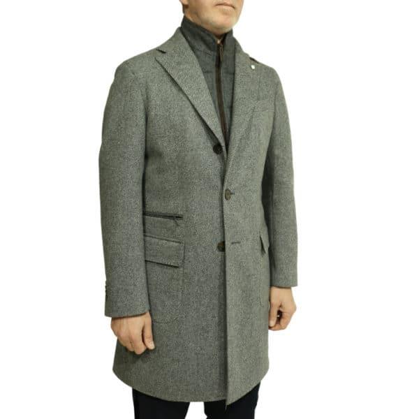 Grey diagonal textured coat suit