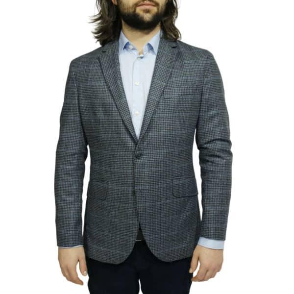 Hackett big check blazer jacket navy front