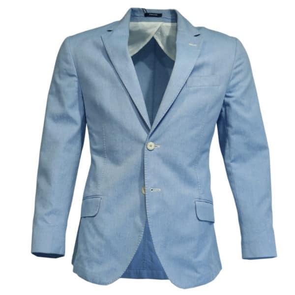 Hackett blazer jacket denim look light blue front