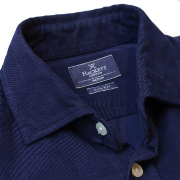 Hackett corduroy shirt navy collar detail