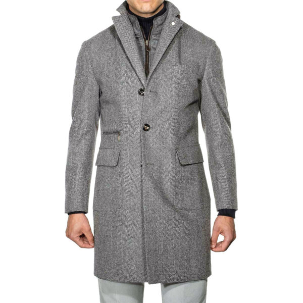 Lubiam Herringbone Overcoat With Insert