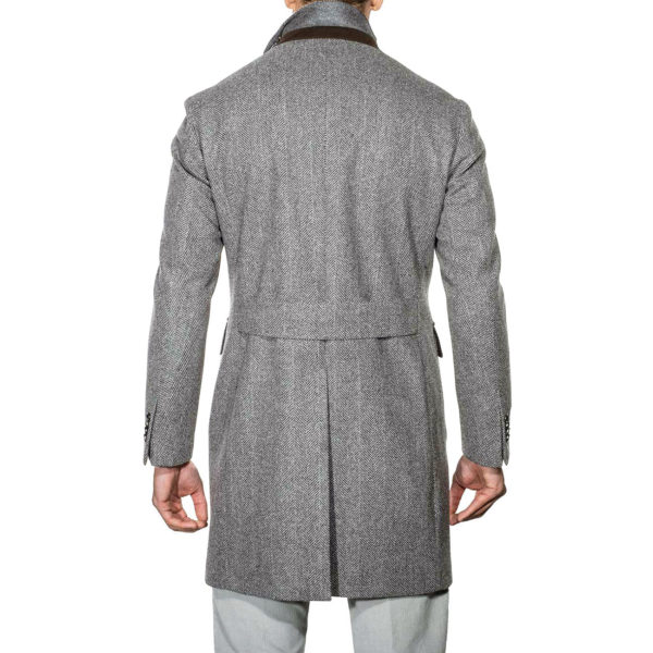 Lubiam Herringbone Overcoat With Insert back