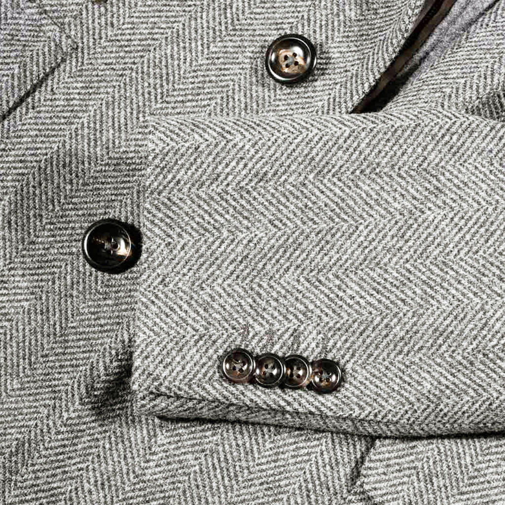 Lubiam Herringbone Overcoat With Insert detail