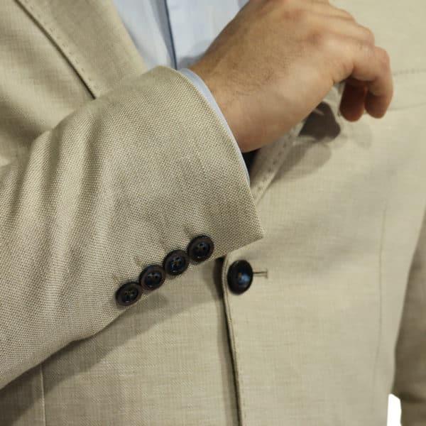 Maxim B blazer jacket beige button detail