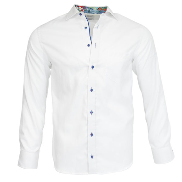 Oscar of Sweden White shirt flower pattern collar