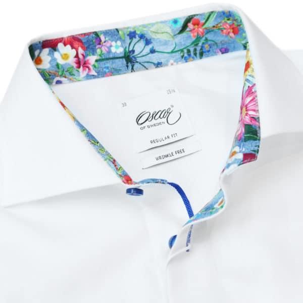 Oscar of Sweden White shirt flower pattern collar detail