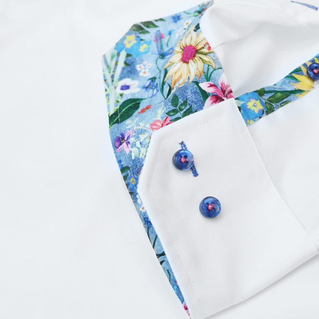 Oscar of Sweden White shirt flower pattern cuff detail