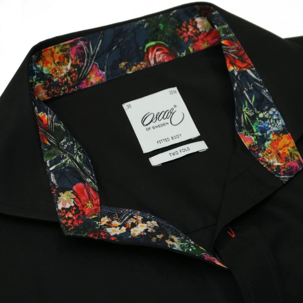 Oscar of Sweden shirt flower collar black collar