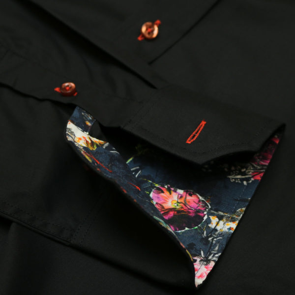Oscar of Sweden shirt flower collar black cuff