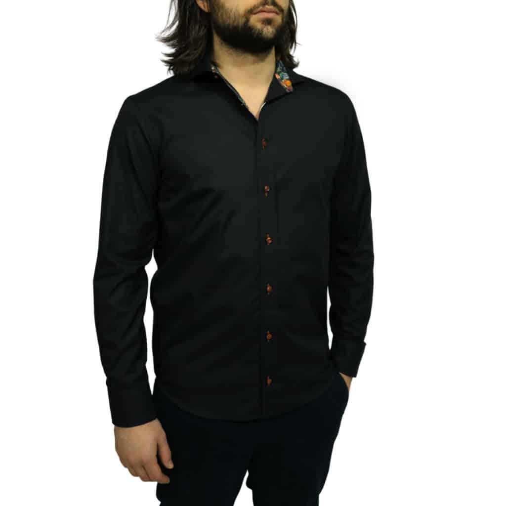 Oscar of Sweden shirt flower collar black side Copy