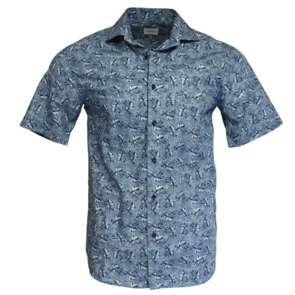 Oscar of sweden short sleeve shirt feather pattern