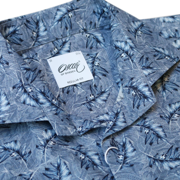 Oscar of sweden short sleeve shirt feather pattern collar