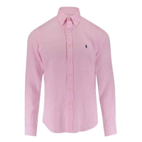 POLO RALPH LAUREN CUSTOM FIT LINEN SHIRT Pink
