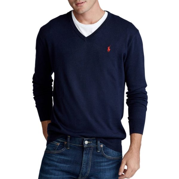 POLO RALPH LAUREN SLIM FIT MERINO WOOL SWEATER V NECK