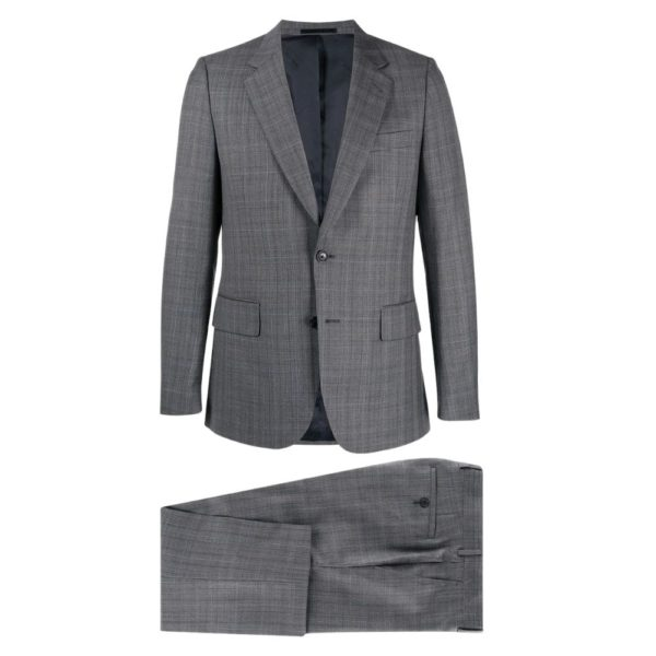 Paul Smith Mens Slim Fit Dark grey check wool suit all