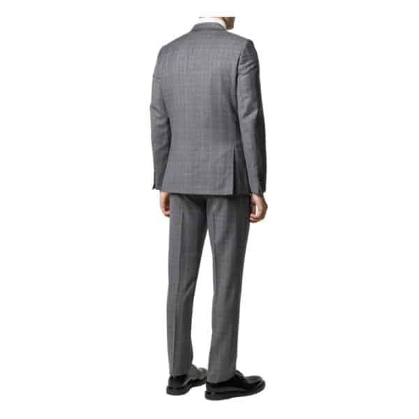 Paul Smith Mens Slim Fit Dark grey check wool suit rear
