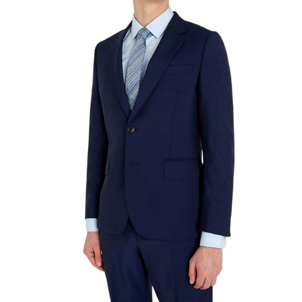 Paul Smith Mens Slim Fit dark blue Wool Mohair Suit front