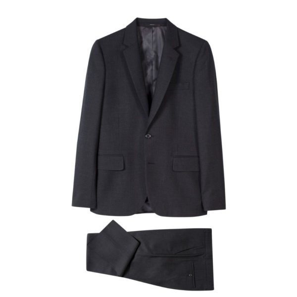 Paul Smith Mens Tailored Fit wool suit in Charcoal all