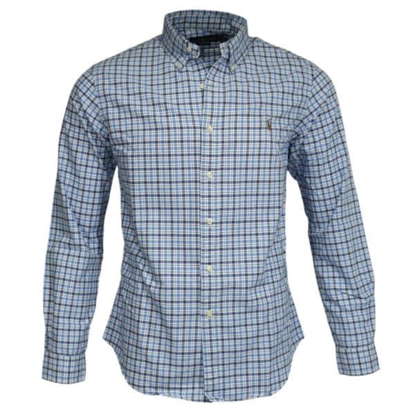 Polo Ralph Lauren blue check polo shirt front