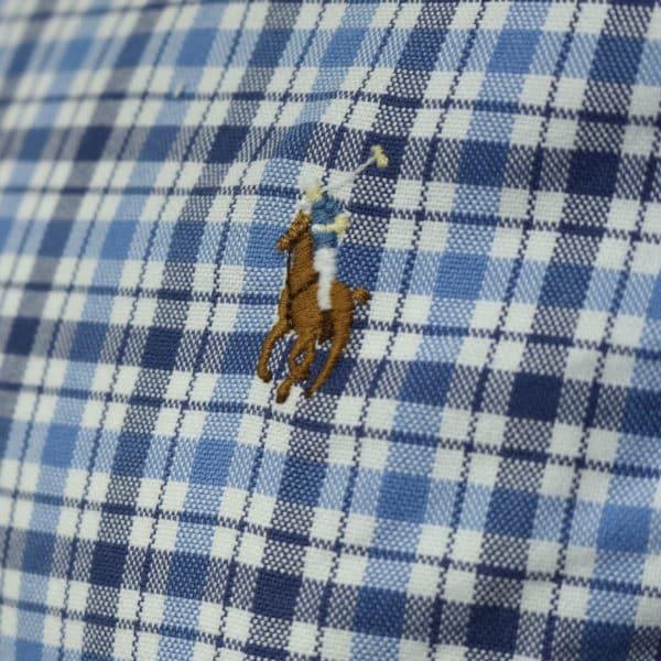 Polo Ralph Lauren blue check polo shirt logo