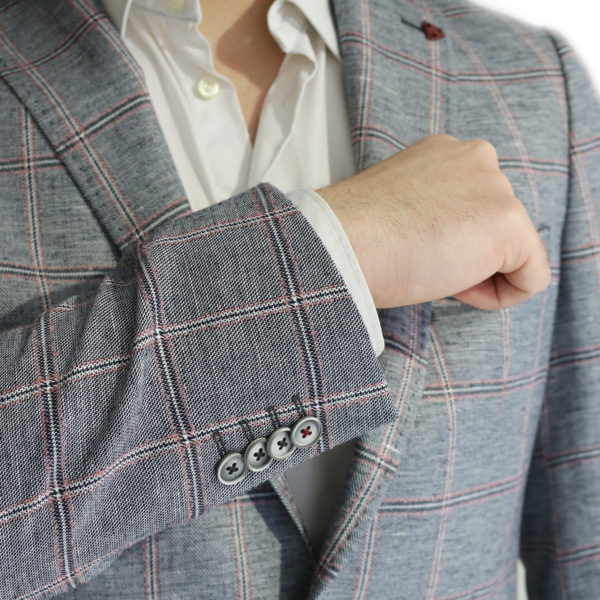 Roy Robson big check jacket button detail