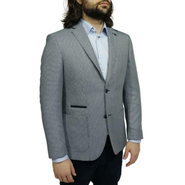 Roy Robson blazer jacket bamboo fabric navy side 1