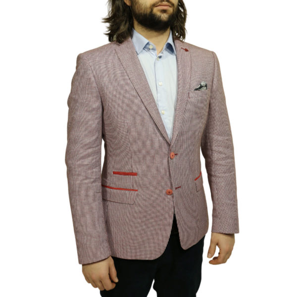 Roy Robson blazer jacket red check side