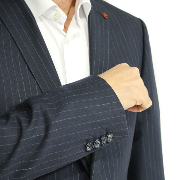 Roy Robson striped navy suit button detail