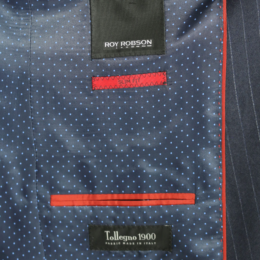 Roy Robson striped navy suit lining
