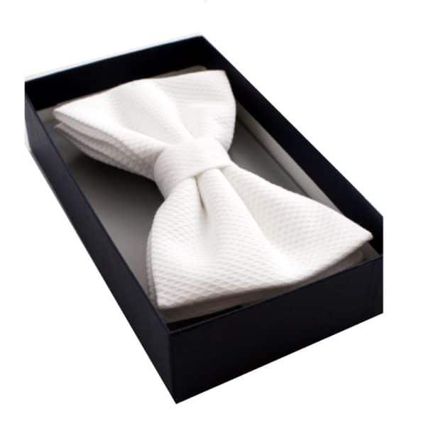 Simpson Ruxton White Marcella pre tied Silk Bow Tie