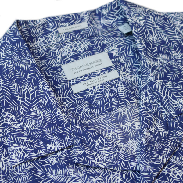Thomas Maine short sleeve summer shirt navy collar Copy