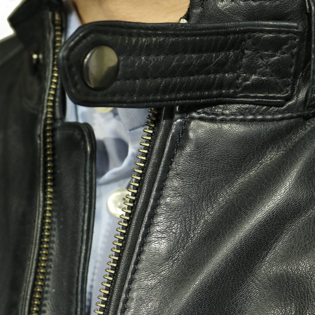 Two selection black leather jacket collar detail